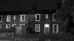 Rosebank Cottages, just before dawn (byronv2) Tags: edinburgh edinburghbynight scotland blackandwhite blackwhite bw monochrome architecture terrace terracedhouses house home cottage building gardnerscrescent night nuit nacht rosebankcottages