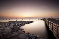 a new beginning (dK.i photography (counting down)) Tags: longexposure morning light texture water sunrise canon dawn pier rocks perspective maryland northbeach filters canonef1740mmf4lusm chesapeakebay waterscape chesapeakebeach 5dmkii singhrayrgnd hitech12gnd