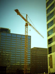 downtown construction crane