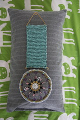 ryan's handmade clock (Pepa Amenabar) Tags: wool gold beads wire embroidery turquoise jewelry pearls jewellery homedecor childrensdecor handmadeclock pepaamenabar ryansbedroom