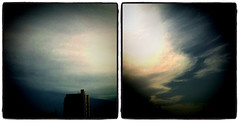 view from a window (stephenTlyon) Tags: sky sun window clouds diptych blockofflats instagram