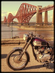 1966 Triumph 650 Bonneville by the Forth Rail Bridge in the day of steam trains (velton) Tags: bridge classic bike vintage scotland scottish rail forth moto motorcycle aviary veteran singe motorrad velton