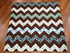 blue & brown zigzag quilt top, points trimmed (kitkabbit) Tags: blue brown modern quilt sewing bryce patchwork zigzag 2012 bluebrown babyquilt stripquilt railfencequilt