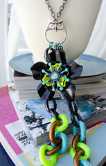 tropic of owly necklace by elfmdchen (ladymissmirka) Tags: sanfrancisco black flower green glass fashion vintage necklace glamour neon purple turquoise teal oneofakind ooak goth jewelry retro pixie chain fairy statement tropical glam etsy bold chunky necklaces enamel mirka retrofit sfmade mirkamorales elfmdchen elfmadchen retrofitsf
