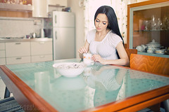 Sweetest ([]NEEL[]) Tags: portrait white reflection cup kitchen girl hair long dress indoor brunette