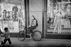 Lean (docpop) Tags: sf sanfrancisco california street camera blackandwhite bw white black film st analog 35mm downtown market kodak trix streetphotography american 400 analogue ricoh gr1 2012