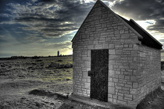 Lonely Hut (Darren Chadwick (Getty Contributor)) Tags: uk light sunset sea lighthouse seascape building beach water rock clouds portland landscape coast bill rocks sailing tag cliffs dorset olympic geo weymouth hdr chesilbeach 2012 portlandbill pulpitrock