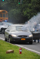 Harrison Car Fire 5/23/12 (zamboni-man) Tags: life new school rescue ford car port training fire lights day harrison smoke engine police rye chester area dodge local firefighter showing department siren charger challenger westchester combo iaff whelen hpd mvf responding hfd scne pcfd volunteet