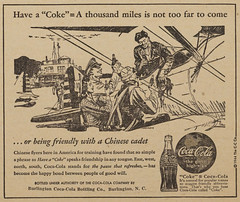 Newspaper advertisement for Coca-Cola, 1944 (North Carolina Digital Heritage Center) Tags: training plane ads fly cola military newspapers chinese coke worldwarii 1940s soda cocacola airforce advertisements sodapop softdrinks chinesecadet
