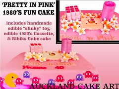 Pretty in pink (Anita (Auckland Cake Art)) Tags: birthday new wedding party baby art cakes cake island stag chocolate auckland zealand pacman cube samoa ghosts slinky 1980 1980s cassette pacifica rubiks samoan hens fondant tongan frangipanis sugarpaste cricut aucklandcakeart