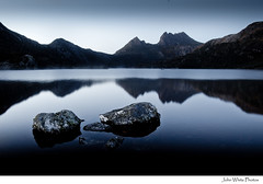 Australia (john white photos) Tags: mountain lake reflections island dawn rocks australia calm clean clear tasmania dovelake freshwater tasmanian cradlemountain thepowerofnow