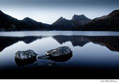 Australia (john white photos) Tags: mountain lake reflections island dawn rocks australia calm clean clear tasmania dovelake freshwater tasmanian cradlemountain ☆thepowerofnow☆