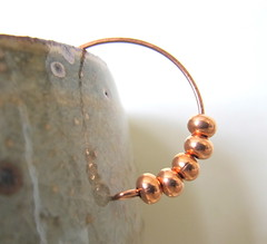 Beaded Copper Hoop Earrings (fiveforty) Tags: canada metal hoop beads jewelry round copper earrings hoops pure beaded solid rondelles fiveforty