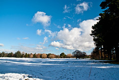 Keep This Side of the Red Line! (Jocey K) Tags: park trees christchurch sky snow clouds shadows footprints nz hagleypark