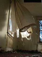 house (Mycophagia) Tags: windows light house dark wind decay creepy forgotten urbanexploration curtains rotten derelict urbex drapery abanodoned