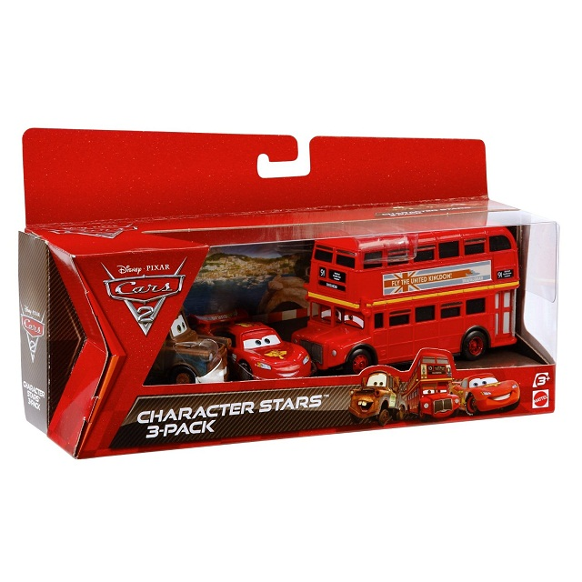 美泰Mattel Cars 2 Collector Double Decker Bus, Mater, and Lightning McQueen 汽车总动员2汽车3件套装玩具