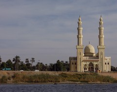 Egypt (Aswan) Mosque on the Nile bank (ustung) Tags: skyline architecture landscape nikon outdoor egypt bank mosque nile aswan