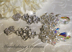 Swarovski Crystal and Pearl Floral Drop Cluster Earrings (moonlighting creations) Tags: wedding white crystal pearls sparkle prom brides earrings bridal rhinestones moonlightingcreations