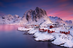 Magical Sunrise (Ral Podadera Sanz) Tags: longexposure sunset red sea cloud seascape mountains sunrise wow landscape cabin long exposure lofoten artic islas hamnoy