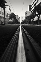 san diego : ghost town (William Dunigan) Tags: san diego downtown rail metro network black white photography urban minimalist public transportation william dunigan nikon d800