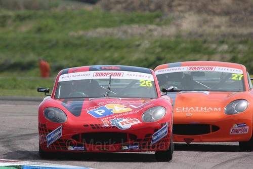 Cameron Roberts and Dave Wooder in the Ginetta Juniors Race during the BTCC Weekend at Thruxton, May 2016