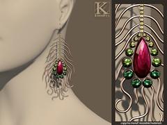 (Kunglers) Natalia earings emerald (AvaGardner Kungler) Tags: statement ethnic kunglers avagardnerkungler secondlifejewelry shinyshabby
