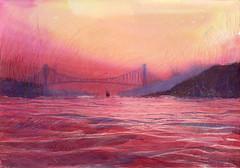 2016 06 11 bosphorus sunset (lilya_de) Tags: seascape watercolor painting mixedmedia aquarelle istanbul watercolour bosphorus fabriano colourpencils polychromos softpress