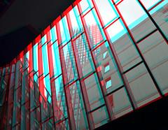 Red Apple Rotterdam 3D (wim hoppenbrouwers) Tags: windows red building apple glass 3d rotterdam anaglyph stereo ramen through uitzicht raam skysraper redapple wijnhaven redcyan doorzicht scheepmakerspassage