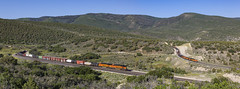 Upper Gilluly Panorma (zwsplac) Tags: railroad panorama mountains forest train soldier utah loop railway summit horseshoe curve ge bnsf dpu gevo gilluly es44ac