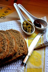 greek olives and homemade bread, taste the simplicity of life and whole wheat flour