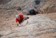Andy on Pitch 2 of Little Princess (Andrew Stelmach) Tags: sports sport rock nikon united uae emirates climbing arab redwall rockclimbing littleprincess wadi d60 naqab nakhab