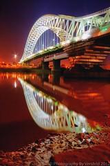 Bedazzling Runcorn Bridge (Photography by Versfeld) Tags: nightphotography night reflections lights cheshire 7d runcornbridge georgebayode