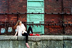 Red Brick Building 4 (neohypofilms) Tags: street wood city red portrait urban woman building cute brick slr film feet girl beautiful beauty fashion wall lady female 35mm vintage hair landscape concrete rouge photography foot wooden kid model nikon shoes long pretty raw industrial legs sweet steel 28mm bricks pipe hipster picture style slide gritty retro photograph barefoot clogs heels hippie series barefeet tall rough grainy tough mules e6 platforms fm2