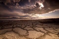 BREAKING THROUGH_DSC7332_E (antelope reflection) Tags: sunset reflection beach water clouds utah antelopeisland greatsaltlake rays utahstatepark nikond90