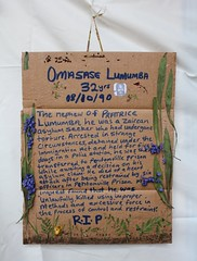 memorial plaque to Omasase Lumumba (Celebrating Sanctuary) Tags: music afghanistan birmingham refugees arts kites worldmusic asylum ort balsallheath opw refugeeweek celebratingsanctuary oldprintworks ortcafe