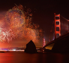 Golden Gate Honor (RZ68) Tags: show birthday bridge light party reflection film water night gold lights golden gate long exposure baker fireworks fort anniversary marin towers trails illuminated celebration velvia shore headlands ft 6x7 75 sparks provia 75th spotlights ggnra e100 62712 rz68