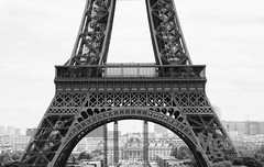 Eiffel Tower (peterotoole) Tags: old city travel windows light bw sculpture paris france building history apple metal closeup photoshop blackwhite mac aperture nikon holidays europe raw pattern zoom crane horizon  eiffeltower tourist structure iso peter processing handheld daytime dslr distance range section steal attraction trocadro otoole midsection d7k d7000 nikond7000 peterotoole