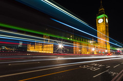 Light Trailing Big Ben and Westminster Palace (Torsten Reimer) Tags: street uk longexposure england colour london tower westminster car thames night dark trafficlight traffic unitedkingdom housesofparliament bigben lighttrails carlights westminsterbridge buslane westminsterpalace
