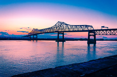 bridge stands tall (Billy Metcalf Photography) Tags: bridge sunset port river dock louisiana unitedstates batonrouge mississippiriver interstate i10 trussbridge downtownbatonrouge cantalevertrussbridge