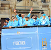 Nigel De Jong, Samir Nasri, Vincent Kompany, Gael Clichy, Micah Richards and Sergio Aguero Manchester City Premier League Title victory parade. Players and staff of Manchester City parade the English Premier League Trophy through the city centre from an open-top bus Manchester, England
