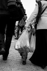 'Not that way' (Richard Reader (luciferscage)) Tags: street camera boy bw london monochrome bag child may streetphotography hoxton photowalk dalston 2012 ridleyroadmarket nikond700 richardreader