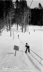 Getting a Lift, Willamette Pass Ski Area (OSU Special Collections & Archives : Commons) Tags: trees winter blackandwhite snow sign sport skiing 1940 rope directions instructions recreation slope ascension willamettepass ascending towline