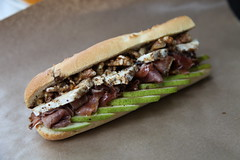 Baguette sandwiche with pear, blue brie, walnuts, proscuitto sandwich at the original Finch's