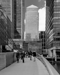 Vertically challenged (Ian Humes) Tags: bridge england people urban blackandwhite bw london water blackwhite highrise offices biancoenero blancinegre noireblanc cccl canonpowershots95
