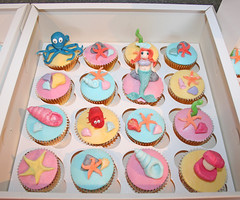 Little Mermaid cupcakes (Janet Whitehead's Cakes) Tags: birthday sea ariel girl cake cupcakes sebastian little 5 girly under sealife mermaid 5th flounder
