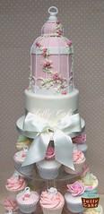 Birdcage Wedding Cupcake Tower (www.jellycake.co.uk) Tags: pink wedding roses tower birdcage cake petals cupcake hydrangea dusky jellycake wwwjellycakecouk