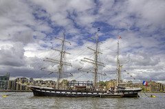 "Alreet to a three-masted French barque ""Belem"" on the Diamond Jubilee weekend from Bermondsey! (yorkshire stacked) Tags: sky france london thames clouds river french boats nikon sailing ship colours belem bermondsey riverthames hdr thamespath vessels barque threemastedbarque nikkor18105mm nikond7000 june2012 diamondjubileeweekend thequeenelisabethii"