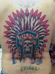 Indian Chief Skull in Head Dress Tattoo by KeelHauled Mike of Black Anchor Tattoo in Denton Maryland (KeelHauled Mike) Tags: tattoo skull indian chief pipe feather photostream headdress tomahawk traditionaltattoo wwwkeelhauledmikecom wwwblackanchortattoocom