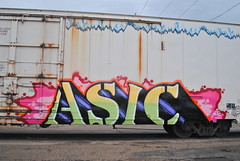Asic (208 Bench) Tags: art train graffiti paint flat rail spray etc boxcar graff freight reefer asic tilx