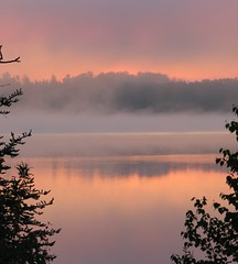 'Twas a misty morning ....... (fyrrylikka) Tags: morning mist lake reflections rising cottagecountry 2012 rosy